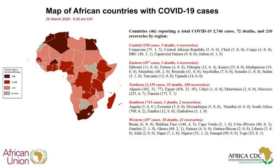 COVID-19 : UPDATE IN AFRICA, 26 MARCH 2020