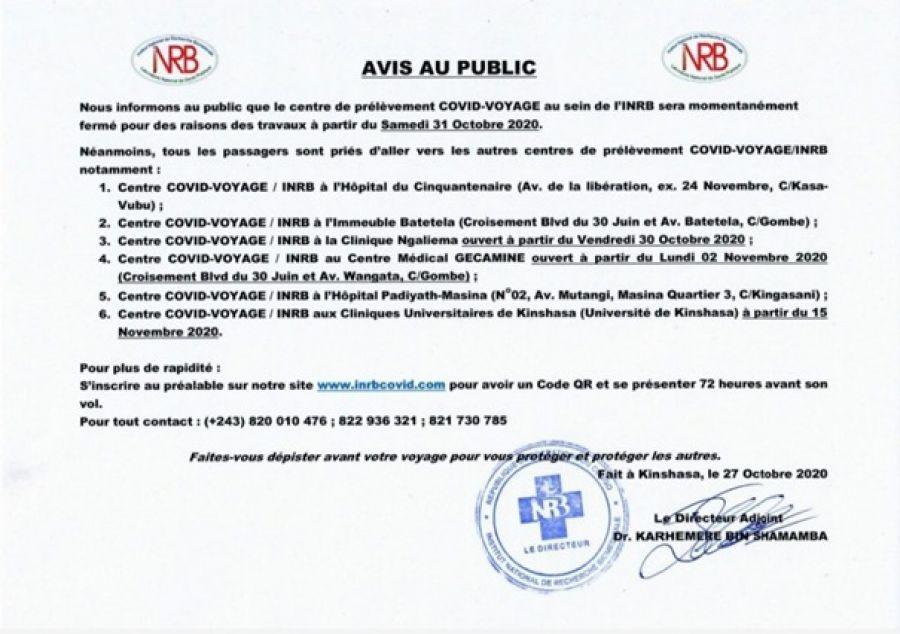 COVID-19: le centre de prélèvement est fermé ce samedi 30 octobre